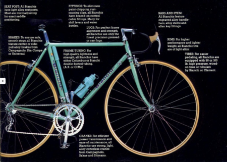 Bianchi Katalog Rennräder 80er Jahre